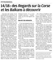 """Pitrusedda accueil l'exposition """"14/18 Regars sur la Corse et les Balkans"""""""