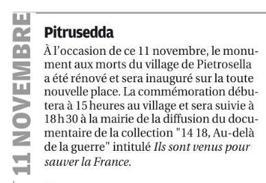 Le 11 novembre à Pitrusedda dans le Corse Matin du 08 novembre !