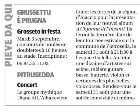 Diana Di L'Alba en concert à Pitrusedda le samedi 31 août