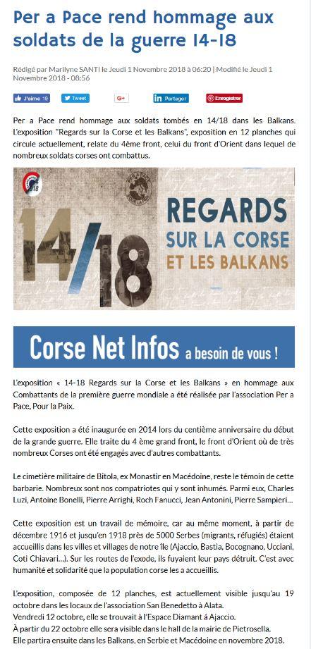 """L'Exposition """"14-18 : Regards sur la Corse et les Balkans"""" à l'honneur dans Corse Net Infos"""