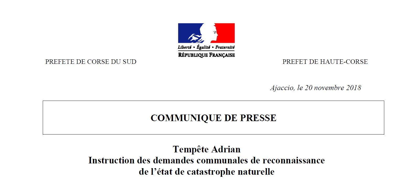 Tempête Adrian : Suite des instructions des demandes communales de reconnaissance de l'état de catastrophe naturelle