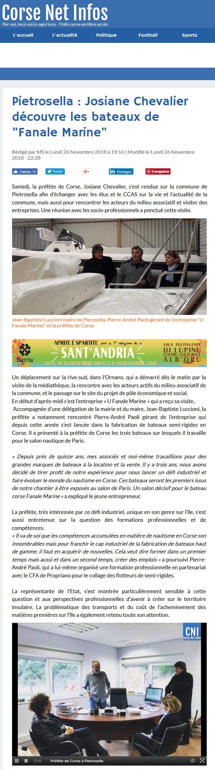 """Corse Net Infos revient sur la visite de la commune et de """"U Fanale Marine"""" par Mme la Préfète, Josiane Chevalier."""