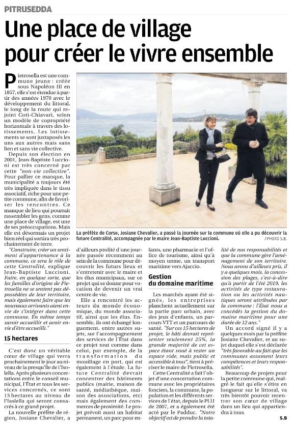 Article sur le projet de centralité dans le Corse Matin du 9 décembre.