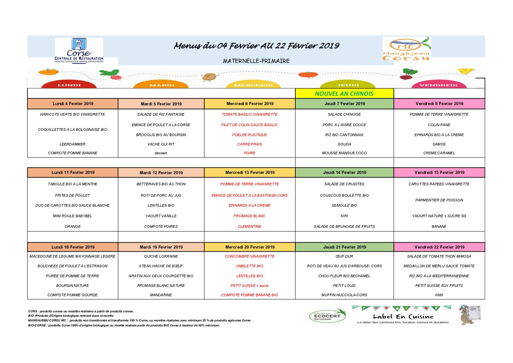 Le menu de la cantine de l'école : février 2019