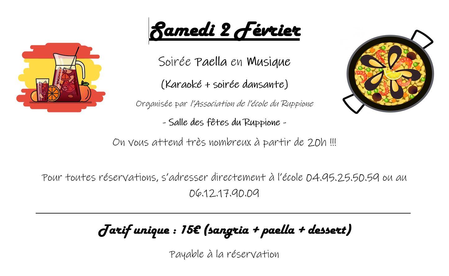 Paëlla, karaoké et soirée dansante pour soutenir le voyage scolaire des élèves de l'école du Ruppione