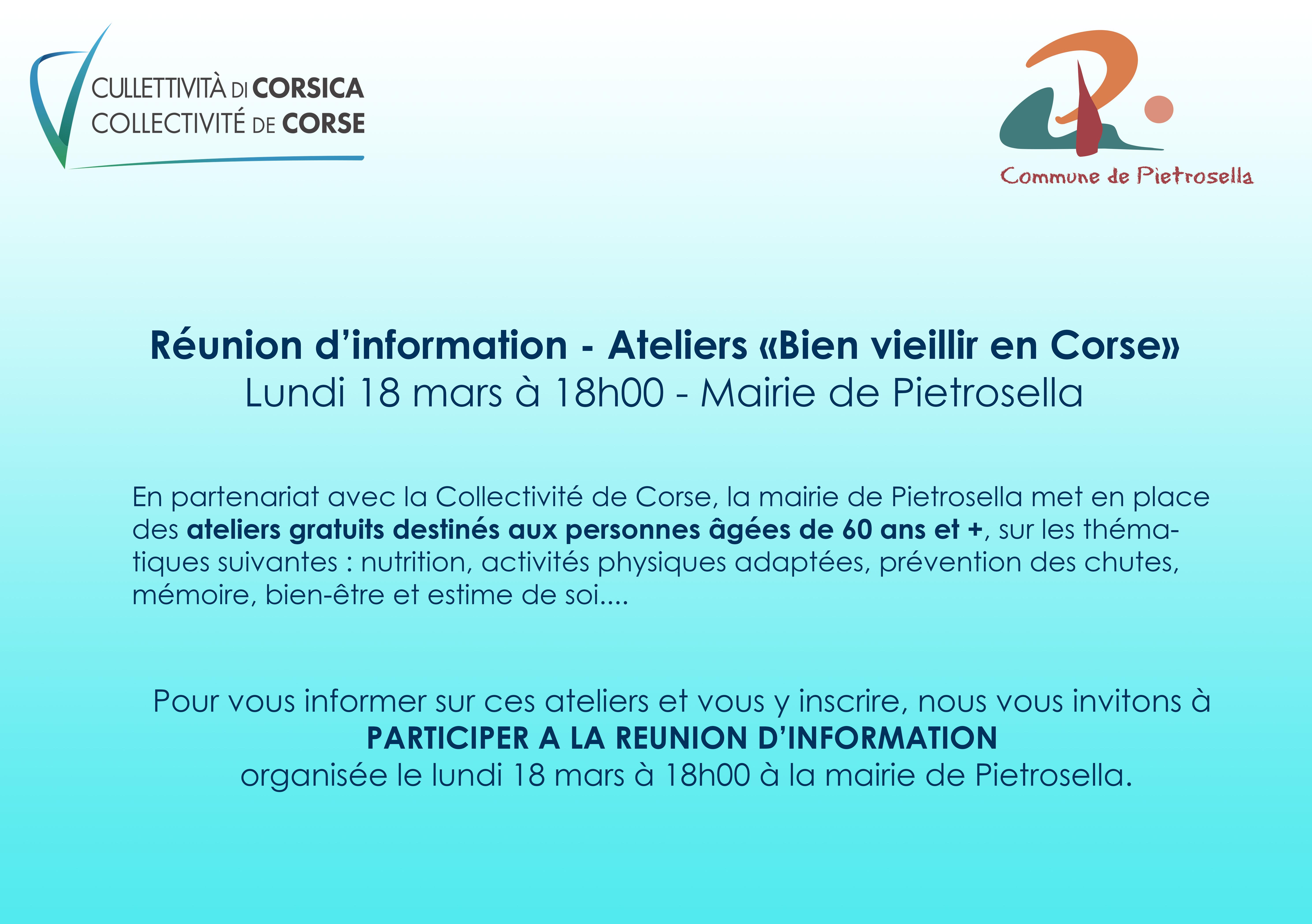 """Réunion d'information """"Ateliers Bien vieillir en Corse"""""""