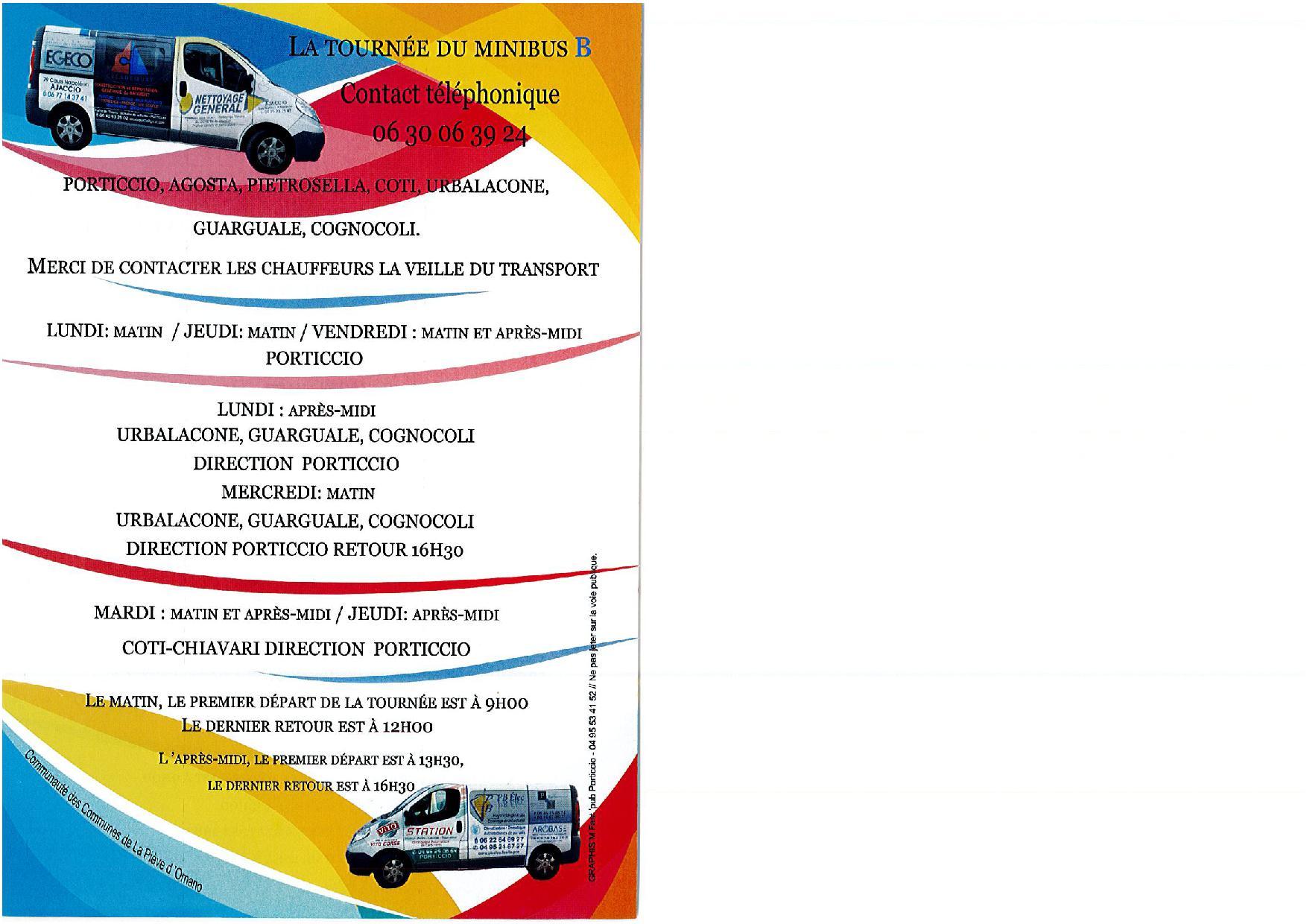 Tournées des Mini Bus de la Communauté de Communes de la Pieve de l'Ornano