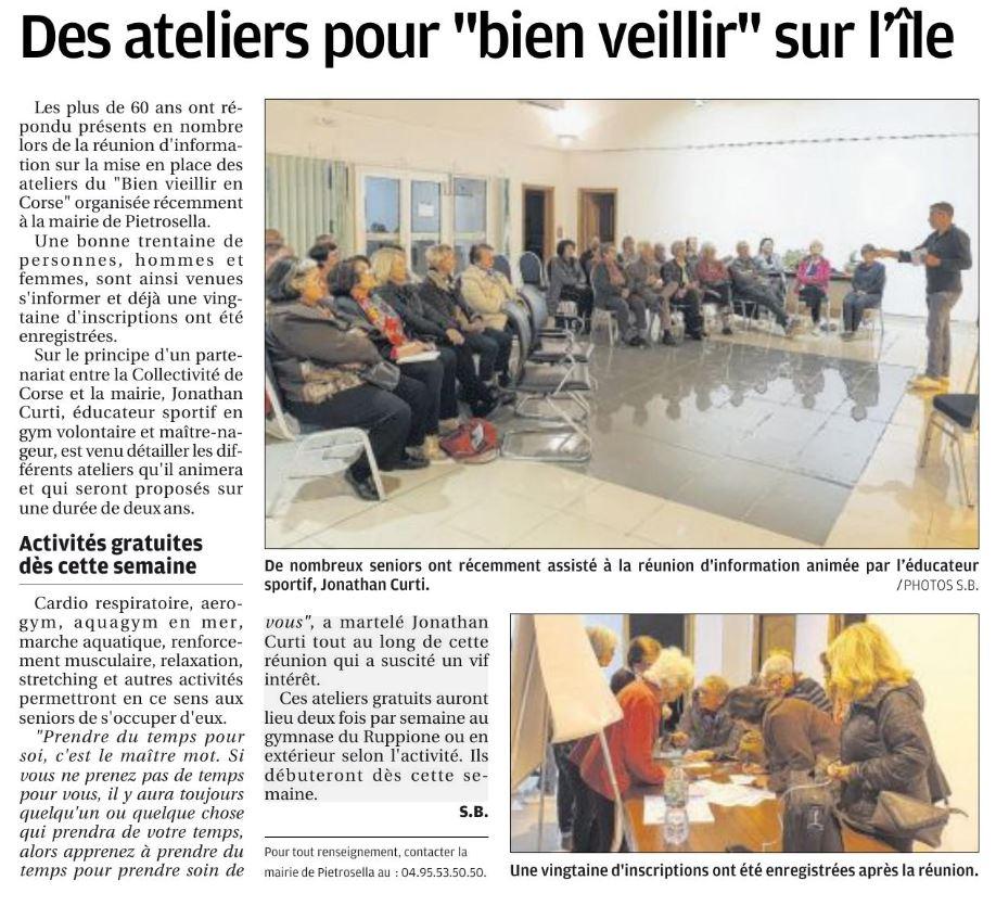 """Zoom sur les ateliers """"Bien vieillir en Corse"""" mis en place sur la commune avec la Collectivité de Corse"""