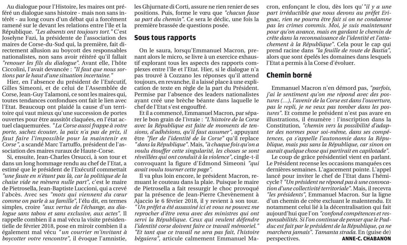 Retour sur le Grand Débat de Cuzzà et l'intervention de Mr le Maire, Jean-Baptiste Luccioni dans Corse-Matin.