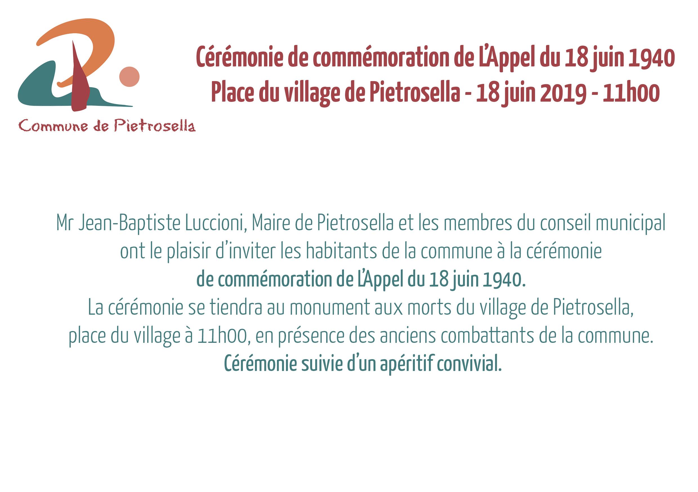 Invitation à la cérémonie de commémoration de l'appel du 18 juin