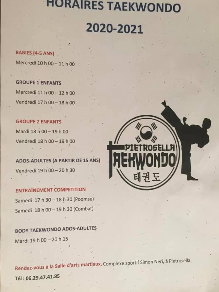 Nouveau ! Horaires et tarifs cours de Taekwondo - Saison 2019/2020