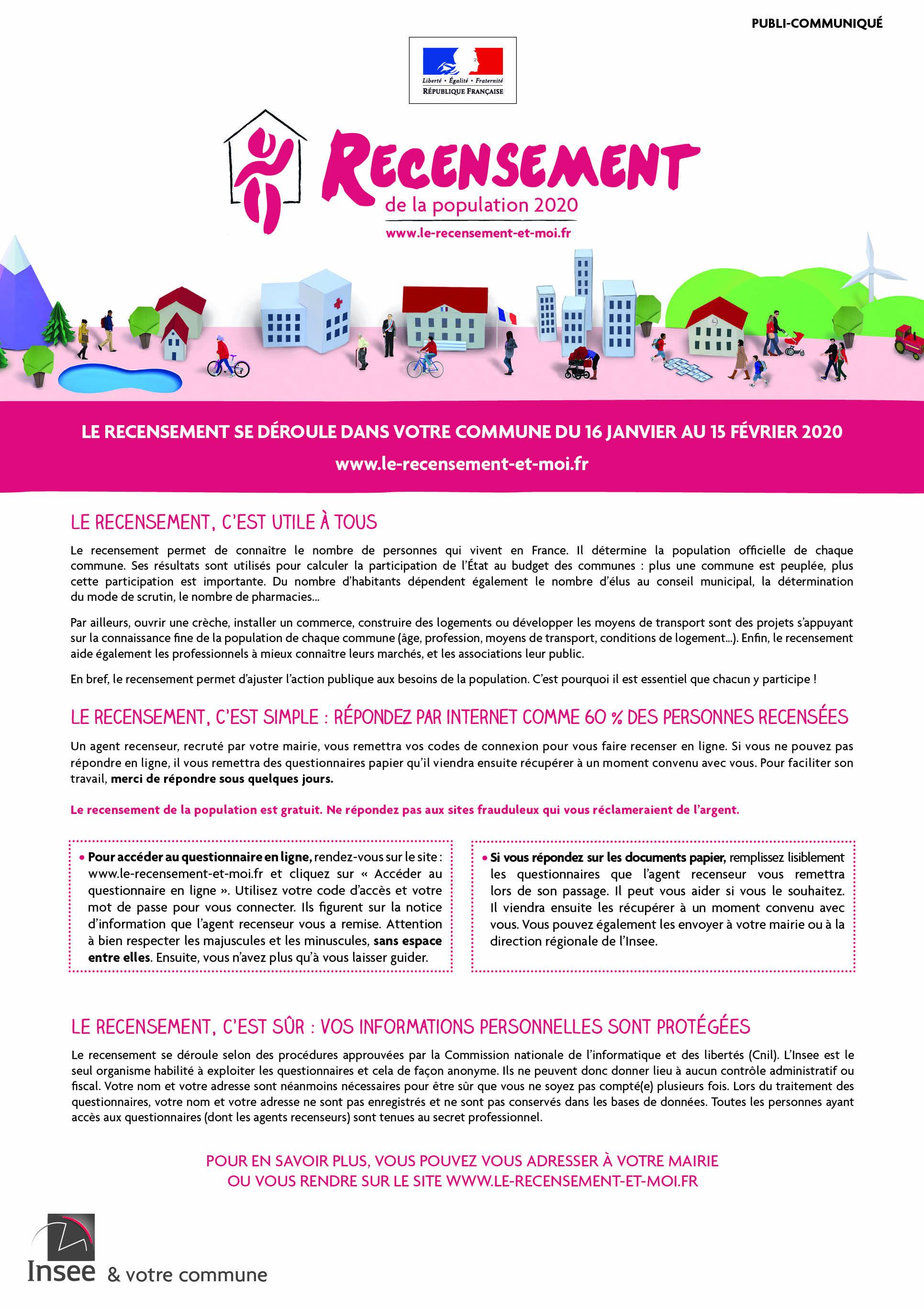 Recensement de la population de la commune du 16 janvier au 15 février 2020