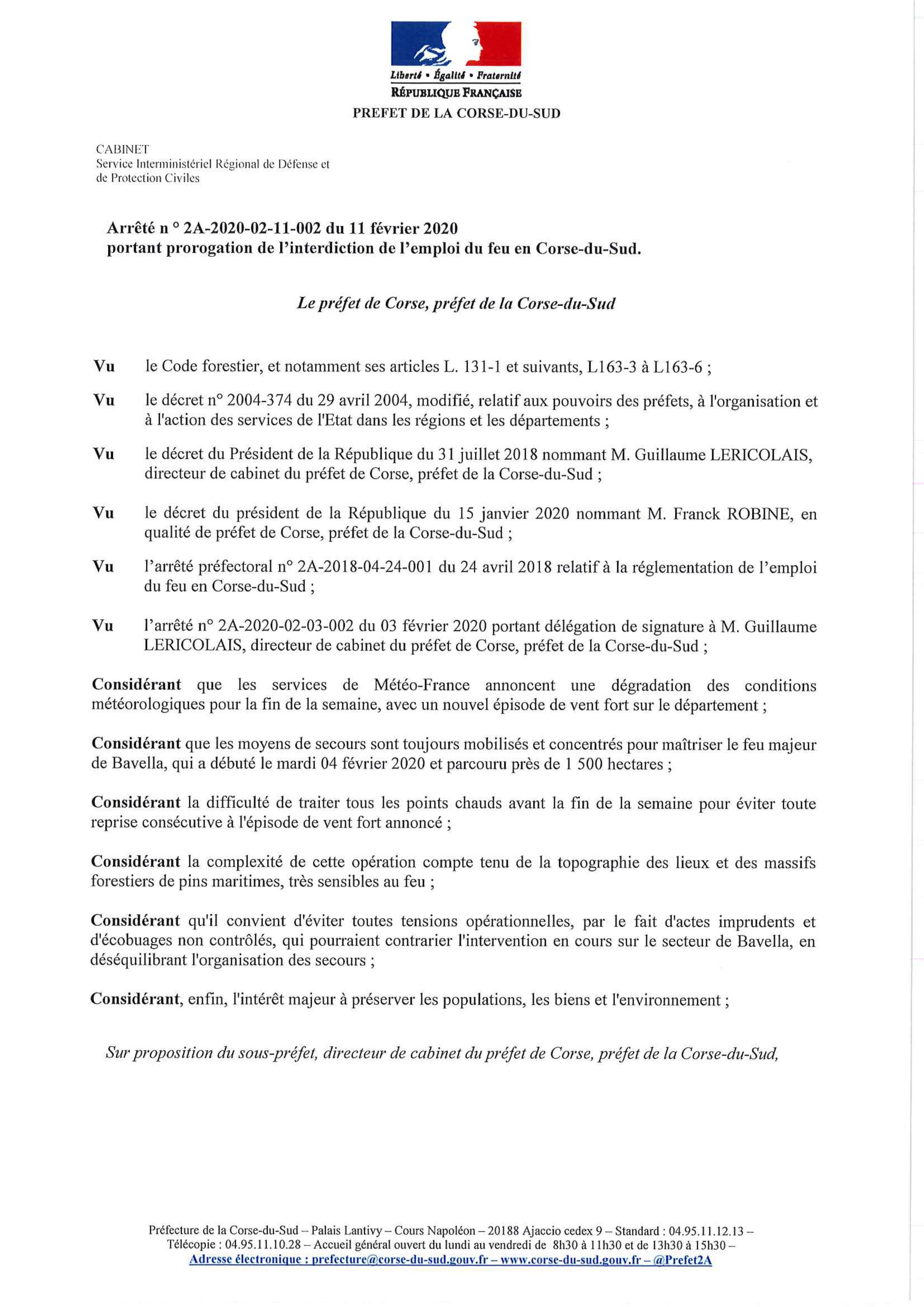 ARRÊTÉ PRÉFECTORAL : EMPLOI DU FEU INTERDIT JUSQU'AU 17 FEVRIER