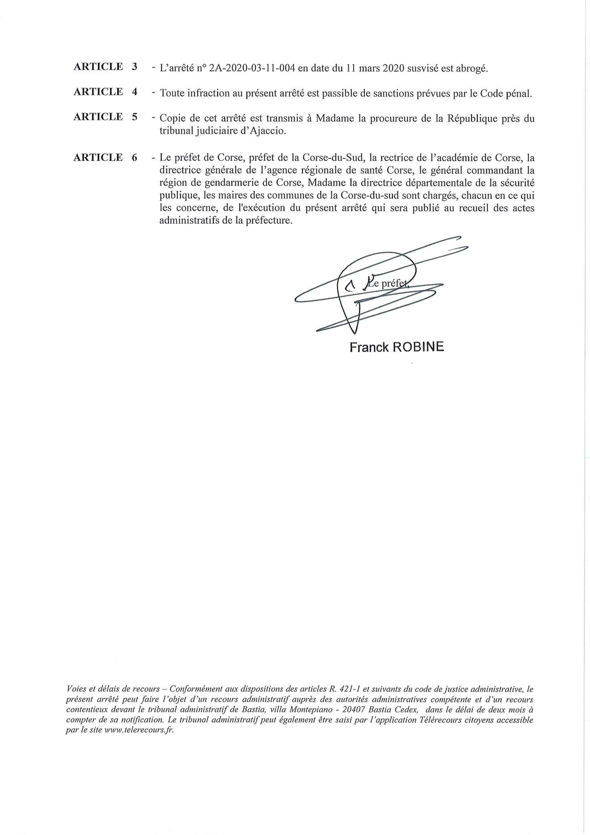 ⚠️ ARRÊTÉ PRÉFECTORAL : fermeture école et crèche de Pietrosella du jeudi 12 au dimanche 29 mars ⚠️