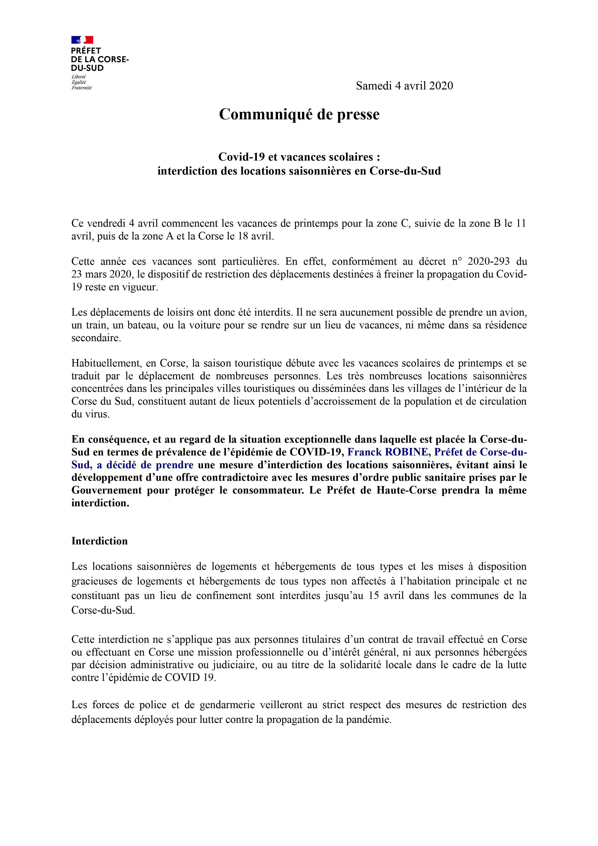 Covid-19 et vacances scolaires : interdiction des locations saisonnières en Corse-du-Sud