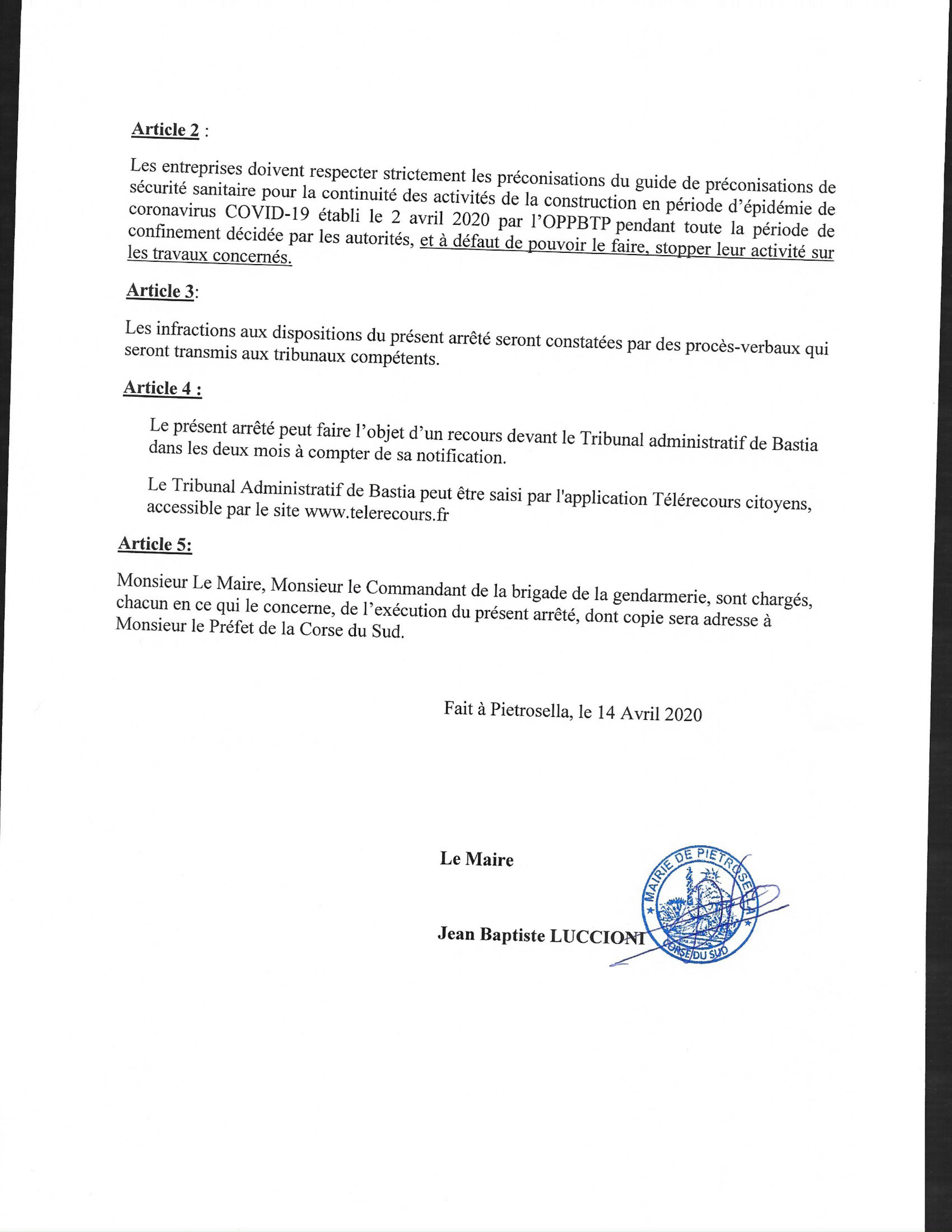 Arrêté de levée d'interdiction des travaux de BTP sur la commune à compter du 20 avril