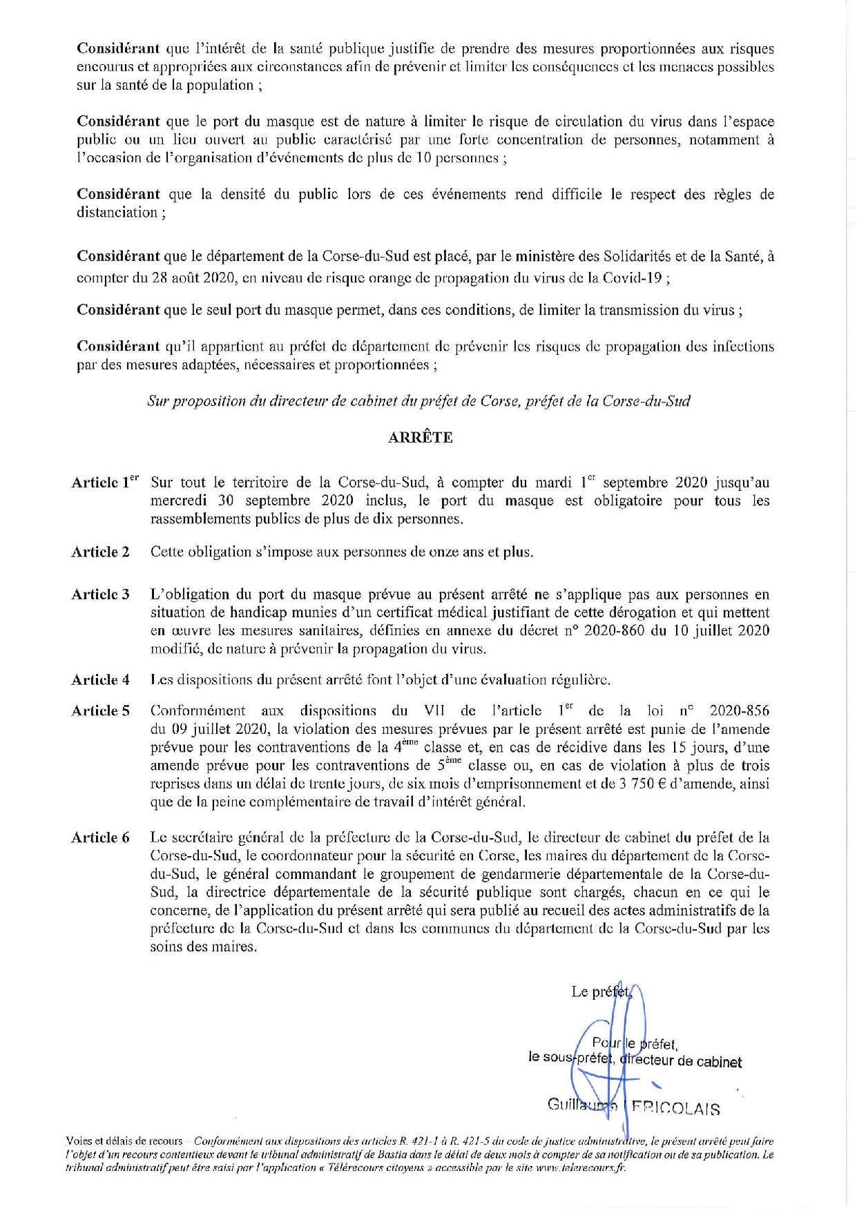 Port du masque obligatoire : nouvelles mesures au 31/08/20