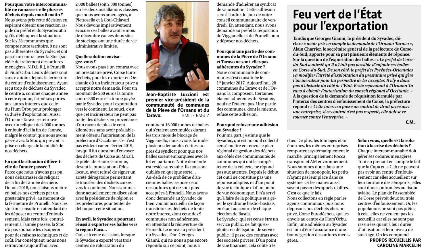 Interview de Jean-Baptiste Luccioni concernant la crise des déhets - 02/09/20