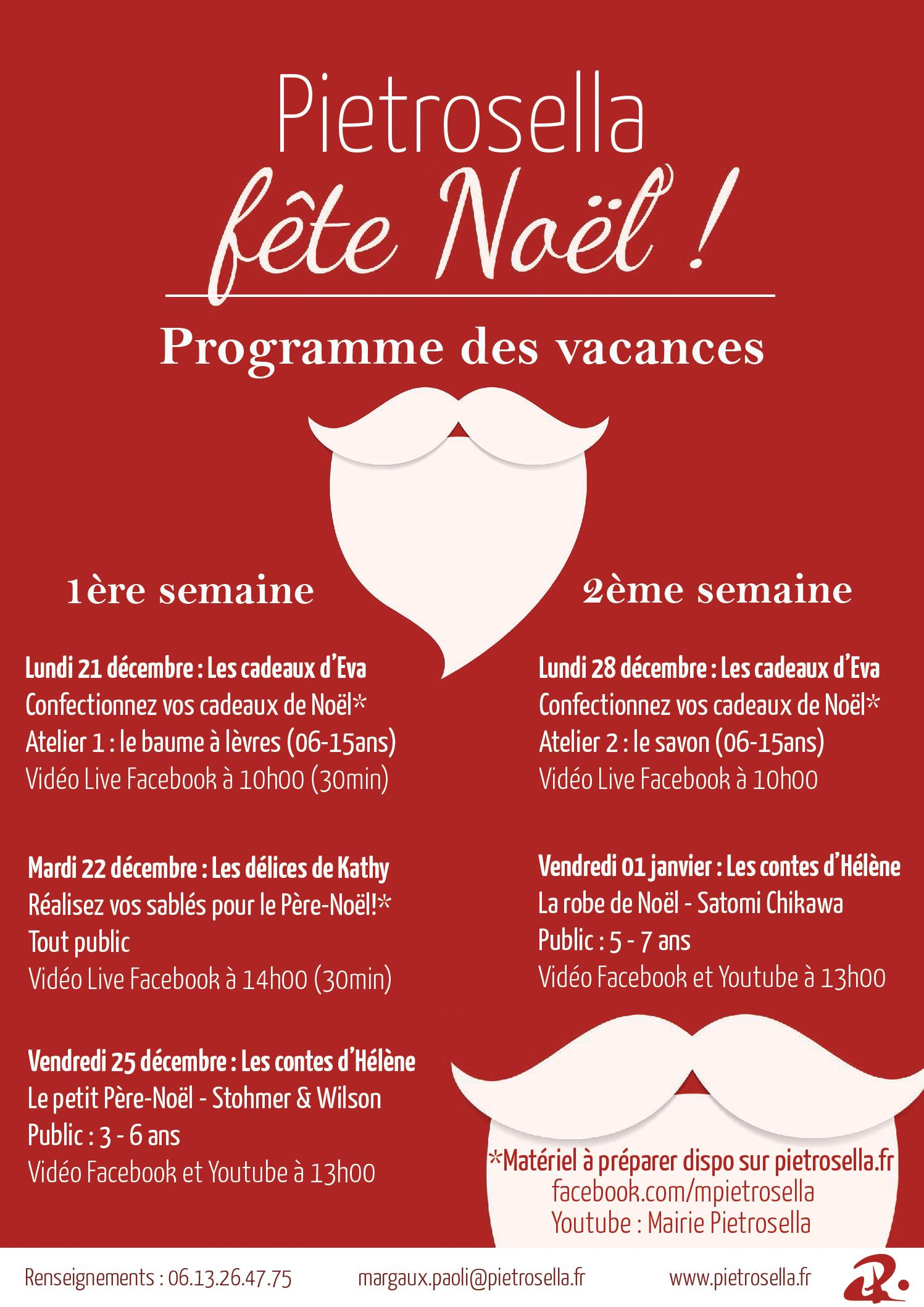 Programme d'activités pour les enfants - Vacances de Noël