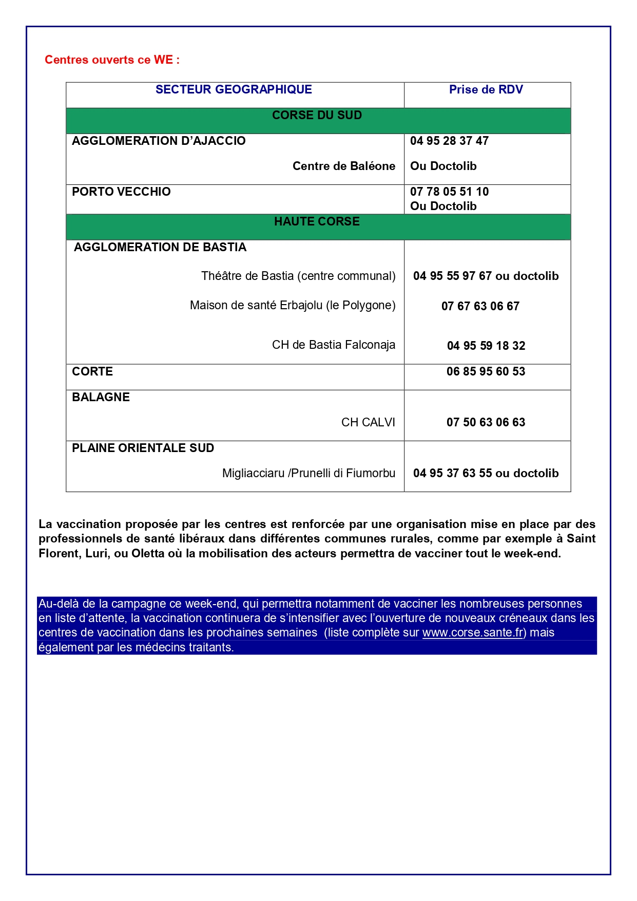 OPERATION VACCINATION CES 6 ET 7 MARS 2021