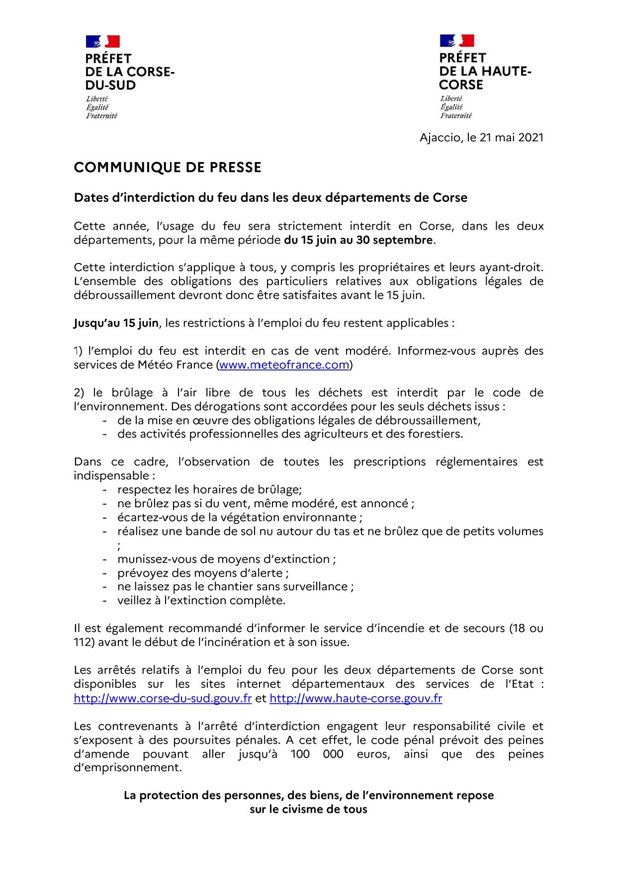 Interdiction de l'usage du feu à compter du 15 juin 2021