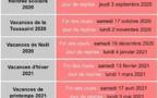 Calendrier des vacances scolaires 2020/2021
