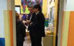 Visite de Guy Monchaux et Christiane Revest à l'école