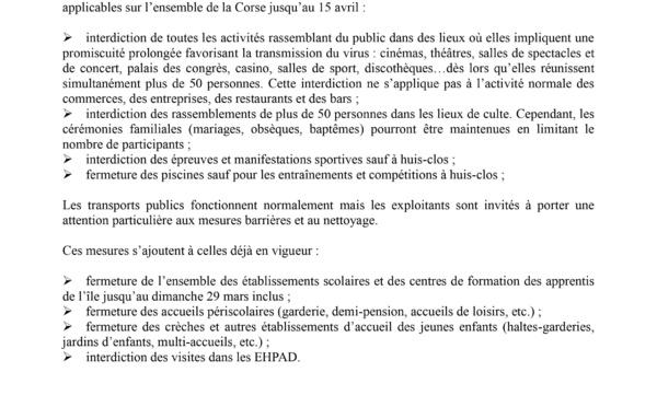 Interdictions liées au Coronavirus sur toute la Corse (par arrêtés préfectoraux)
